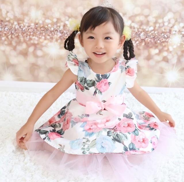 商品番号871 チュールリボン付き薔薇柄ドレス