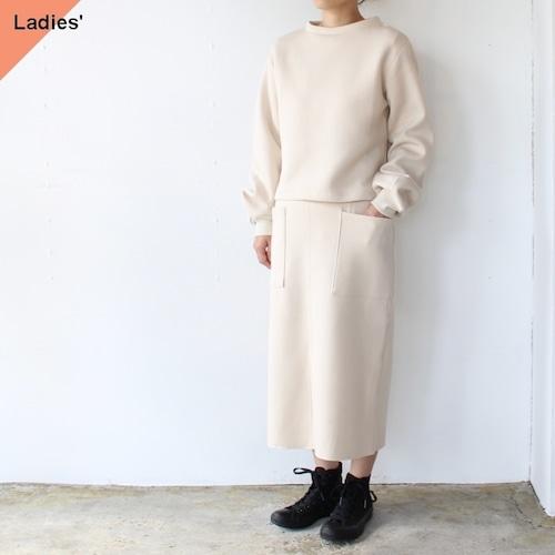 Siora  Cardboard knit setup / Puff sleeve pullover & Midi skirt (エクリュベージュ)