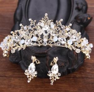 5502髪飾り ティアラ カチューシャ  ヘアアクセサリー ヘアバンド 結婚式ブライダルクラウン セット イヤリング