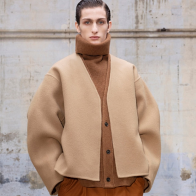 HED MAYNER - DOUBLE-FACE CROPPED JACKET - AW21_J21_DBL/ CML WO - DOUBLE CAMEL