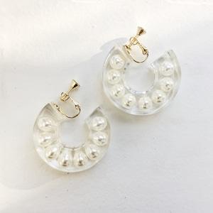 EARRINGS || 【通常商品】CLEAR EARRINGS WITH PEARLS || 1 EARRINGS || WHITE || FCF178