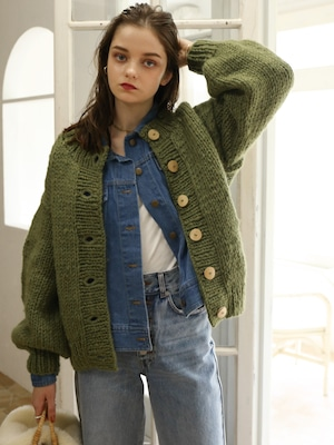 handmade knit cardigan(green)