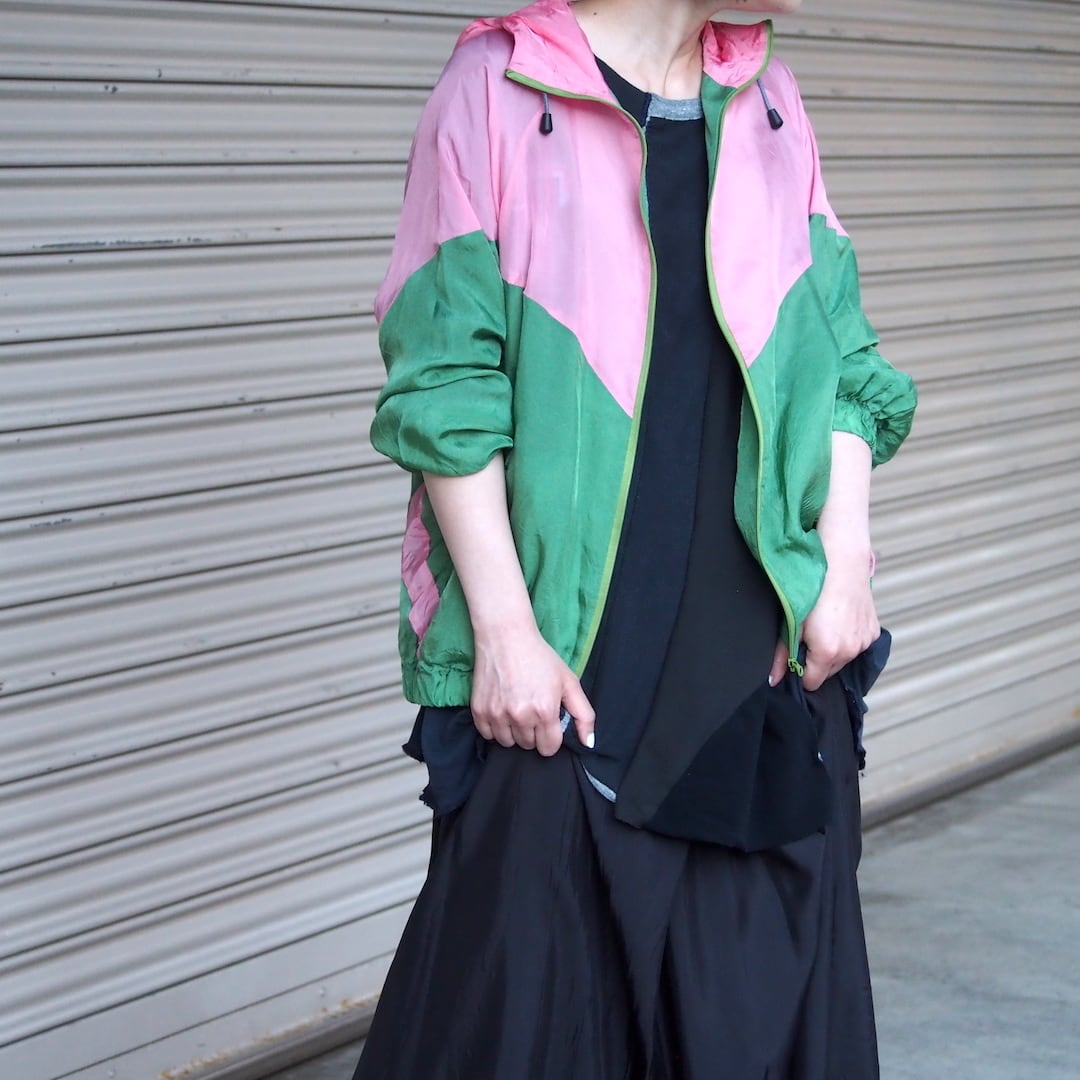 【hippiness】cupro crispy hoodie(pink/green) /【ヒッピネス】キュプラ クリスピー フーディ(ピンクグリーン)