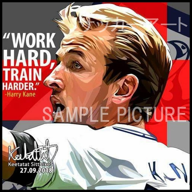 サッカーグラフィックアートパネル ハリー・ケイン イングランド代表 木製 壁掛け ポスター (001-214)