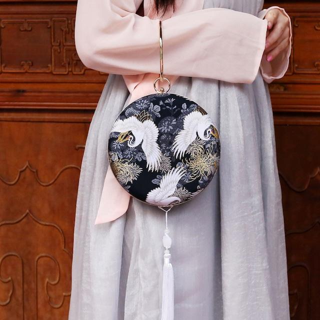 【兮心シリーズ】★チャイナ風バッグ★ パーティー  唐装 漢服バッグ 結婚式 手持ちショルダー 宴会 女子会 鶴