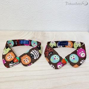【アニマルボール柄】いちごボタンの猫用つけ襟風首輪/子猫から成猫までおしゃれでかわいいデザイン