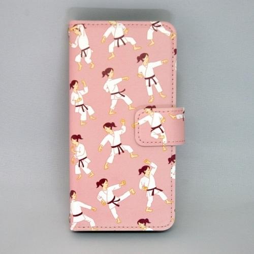 楽天モバイル・Y!mobile・UQmobile用:全日本空手道連盟認定 手帳型スマホケース G_女子空手ピンク