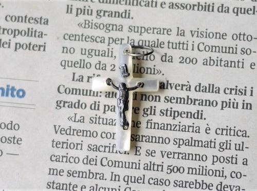 マザーオブパールクロス 十字架とイエス像 仏アンティーク