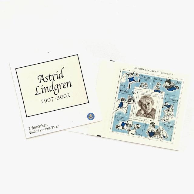 切手帳(未使用)「アストリッド・リンドグレーン追悼 - 7枚構成(2002)」