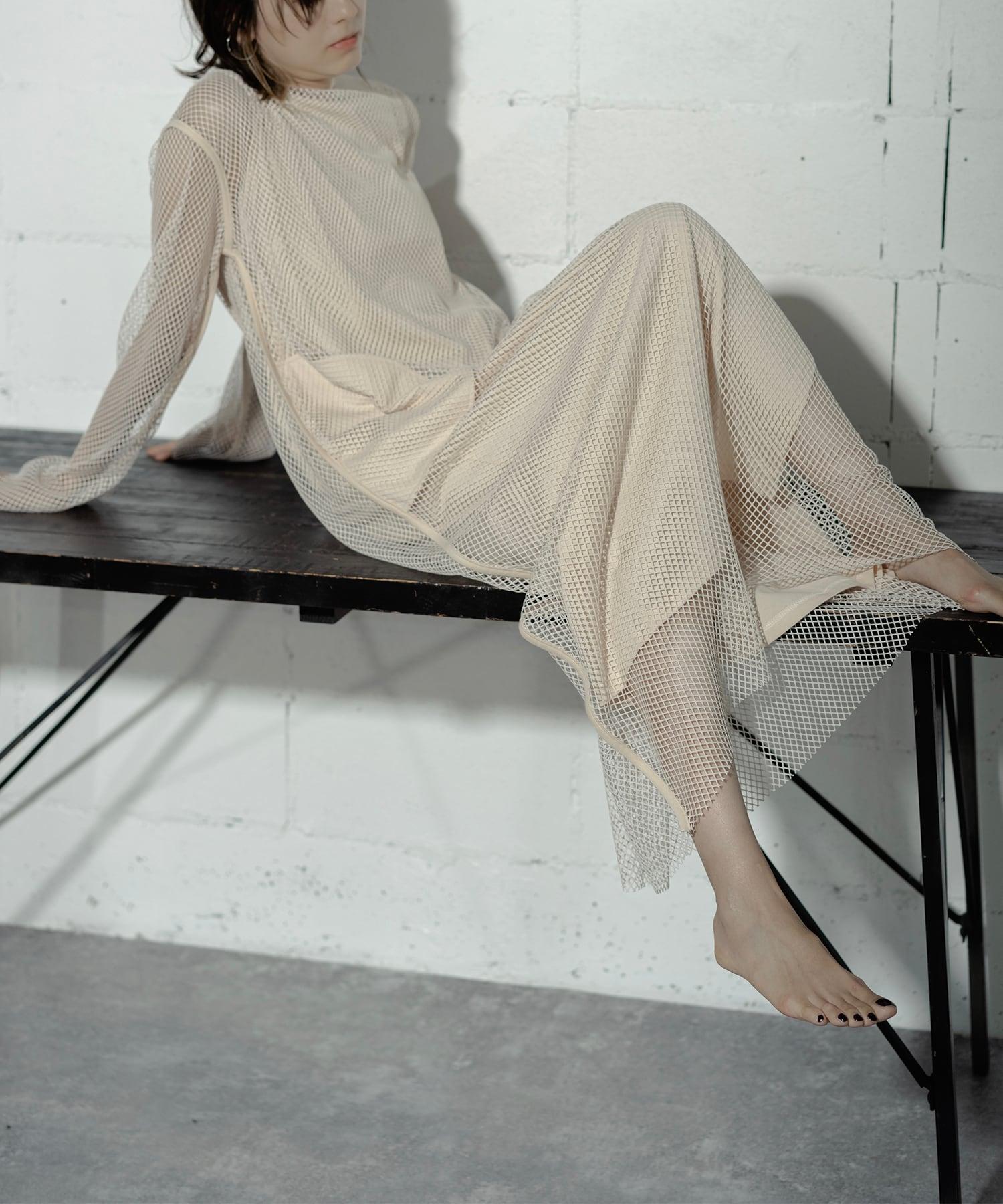 MESH LONG DRESS 2P (O.WHITE)