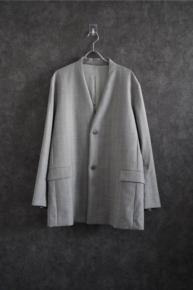 ETOSENSE stripe No-collar jacket  gry