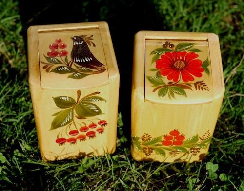 蓋つき木箱2個 バウエルンマーレライ トールペイント フォークアート