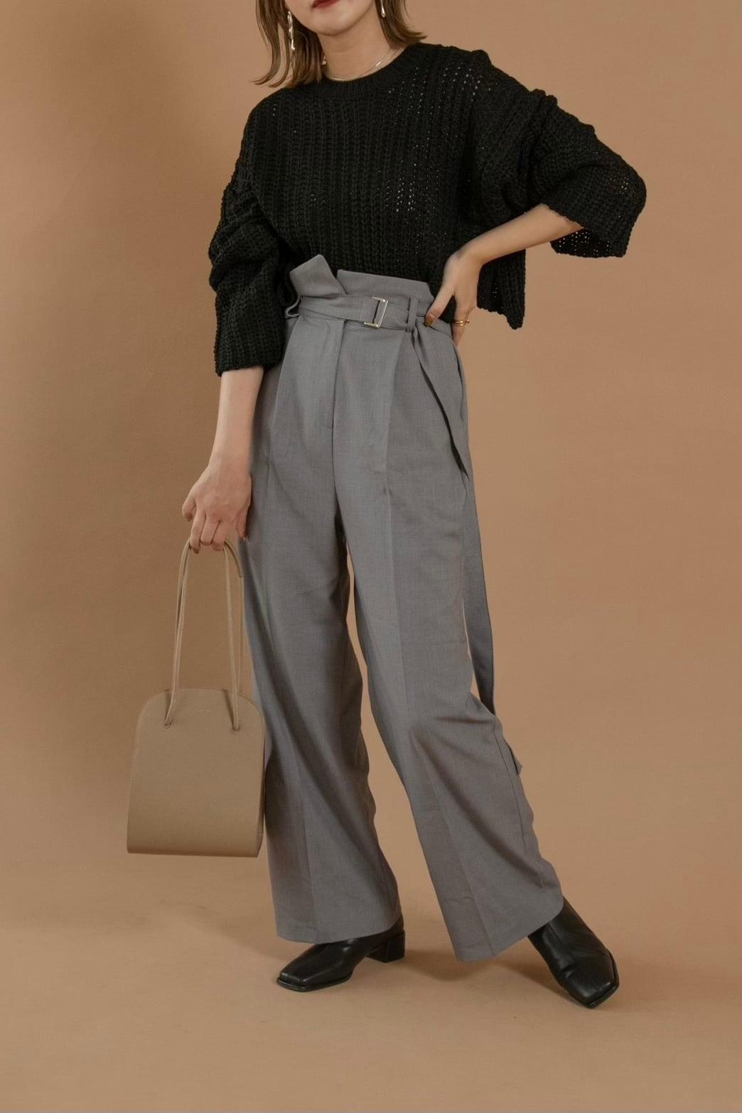 high waist slim straight pants