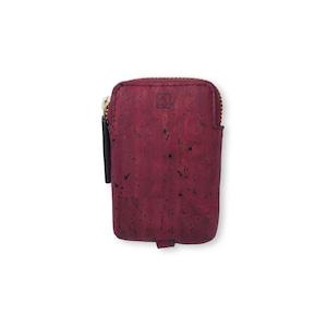 VEGAN MINI KEY CASE - MAROON / キーケース 赤 コルク製