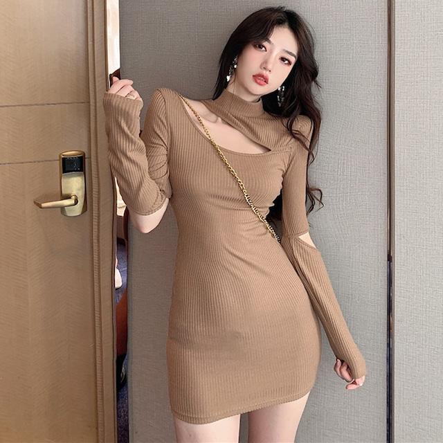 【ワンピース】韓国系合わせやすい気質よい  細見え切り替え  セクシーワンピース34346613