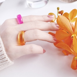 SET RINGS || 【通常商品】 EARLY SPRING NEON CLEAR RING SET E || 2 RINGS || PINK×ORANGE || FBA072