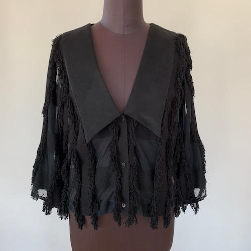Organdy fringe tops / Vintage Black