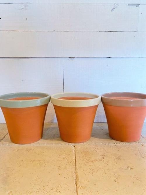 【 20%off 】テラコッタ 植木鉢 (グリーン/アイボリー/ブラウン) ※Φ21cm(7号鉢サイズ)