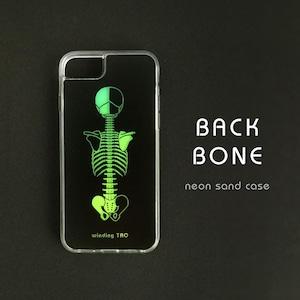 背骨 ネオンサンドケース[iPhone12対応][グリーン&イエロー]