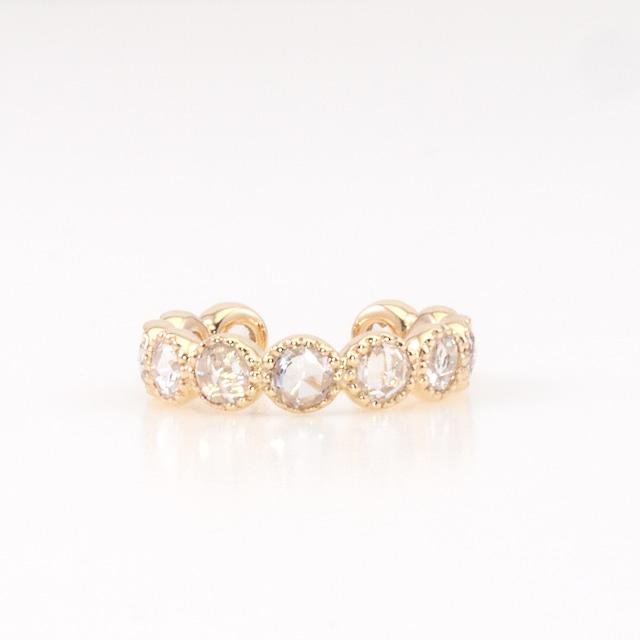 Round rosecut diamond ear cuff / Milgrain