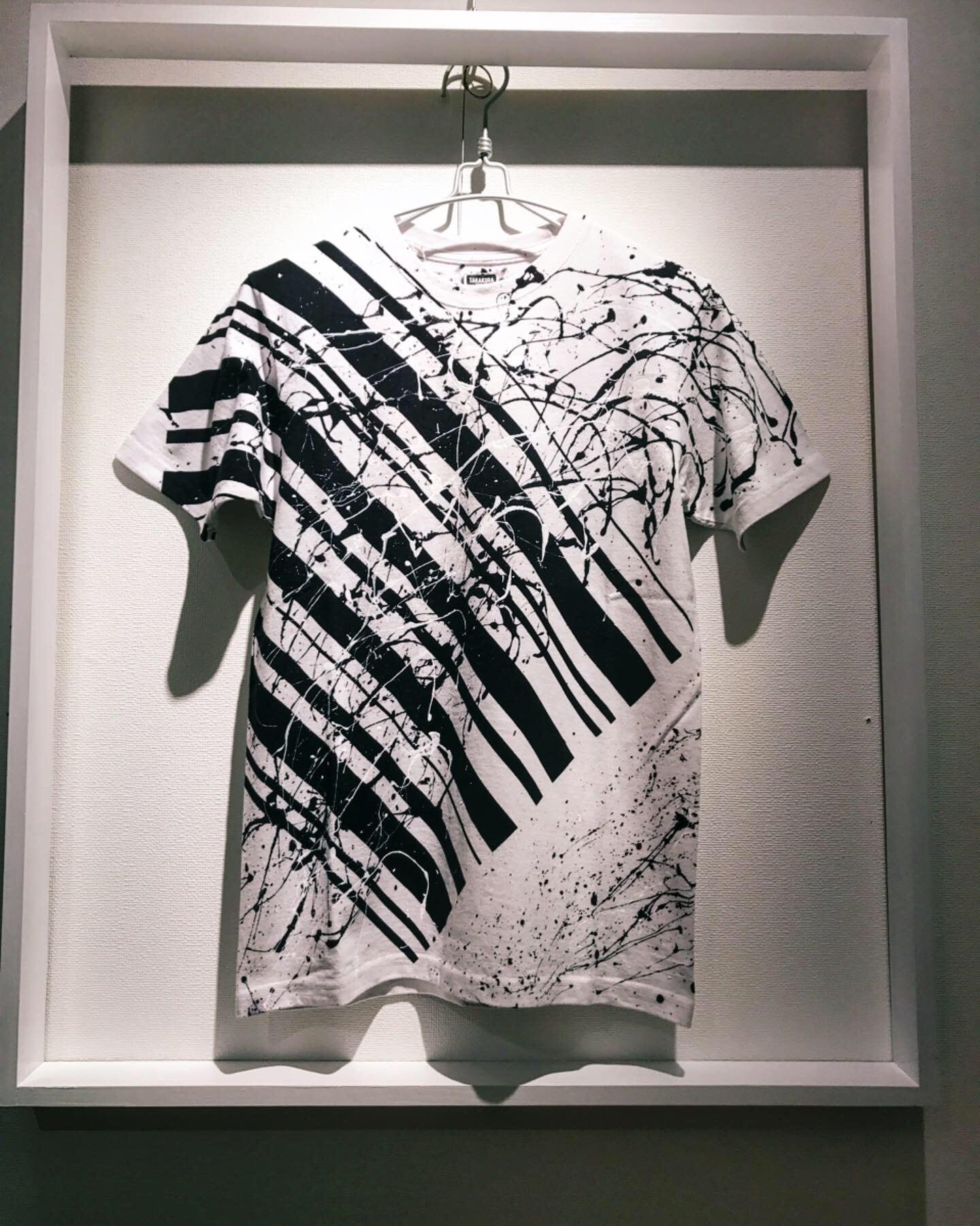 バイアスバーコードシブキTシャツ(白地×黒)