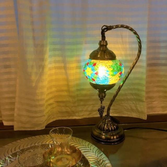 モザイクガラス テーブルランプ ブルー
