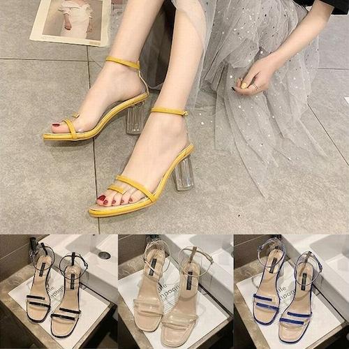 サンダル クリアヒール 7cm アンクルストラップ 韓国ファッション レディース ストラップ パンプス キュート 痛くない かわいい 靴 歩きやすい 591555737757