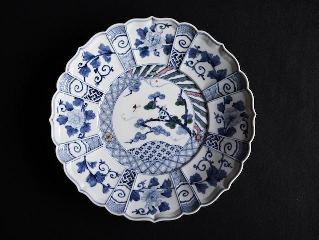 ■山本長左  :  色絵 松の鳥図 盛皿