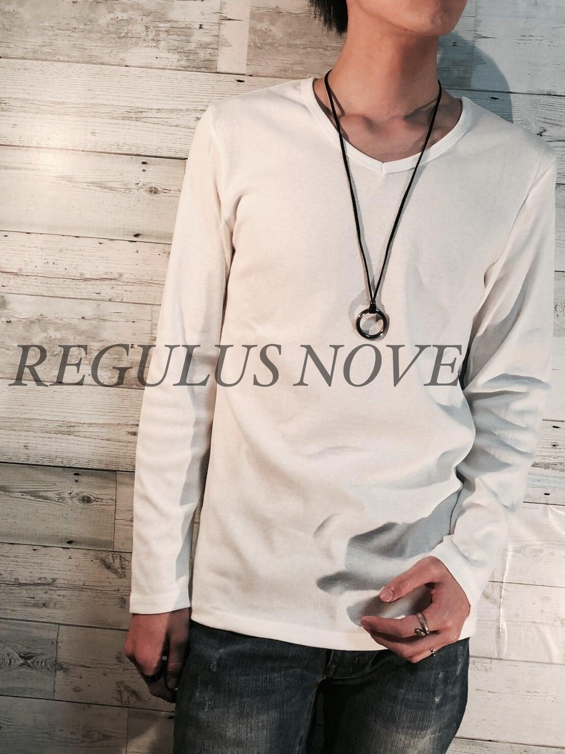 REGULUS NOVE  フライスカットVネックロンT WHITE メンズ 男物 ロンT トップス 紳士服 長袖 シンプル レイヤード 重ね着 カットソー Tシャツ