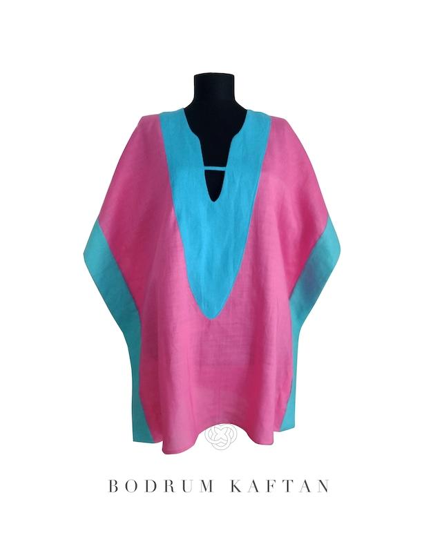 Bodrum Resort Kaftan Tunic Linen ViirginWhite ボドルムリゾートカフタンチュニック丈 リネン ヴァージンホワイト