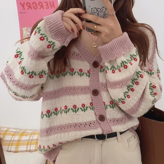 【アウター】可愛いデザイン!韓国系 キュート 花模様 ショート丈 透かし彫り 長袖 カーディガン53616523