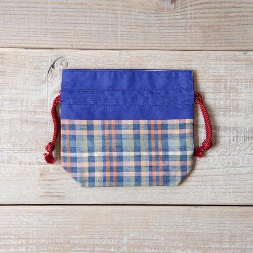 上田紬(つむぎ) ミニ巾着袋 絹100% 長野県産【01】
