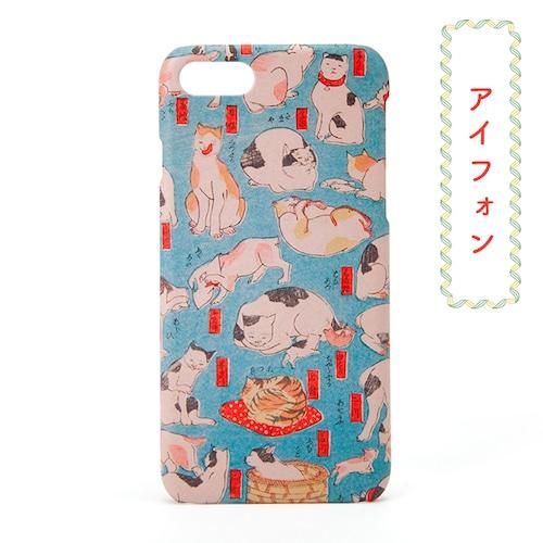 和柄レトロiPhoneケース「ねこづくし」