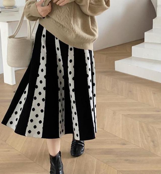 【スカート】水玉ニット スカート