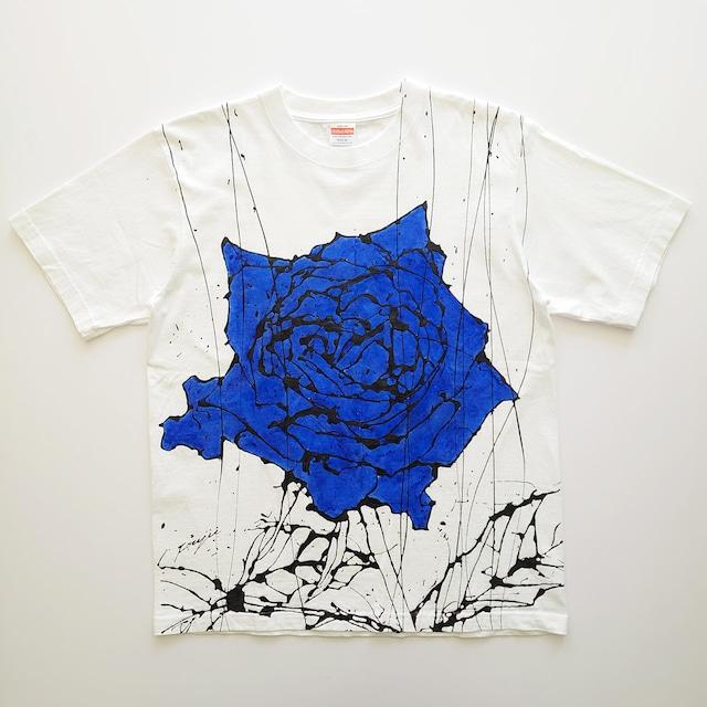 F's rose【 藤井清秀  Tシャツアート】ブルー薔薇 M