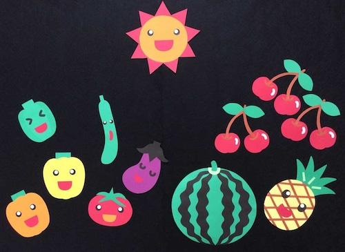【夏の壁面装飾】太陽の恵みでおいしくなったよ