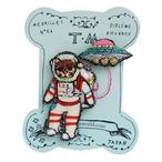 刺繍ミニブローチ猫の宇宙飛行士とUFO