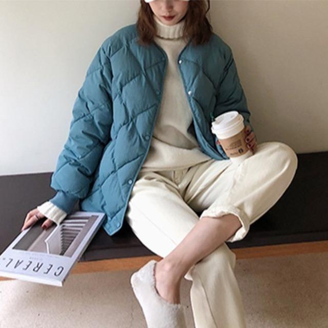 【送料無料】シンプル 中綿ダウンジャケット シンプル ノーカラー★2色