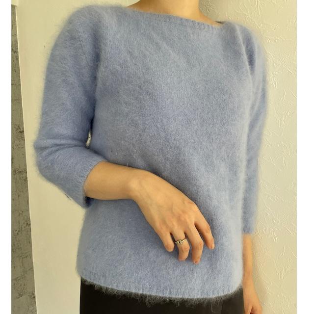 pail blue fluffy knit