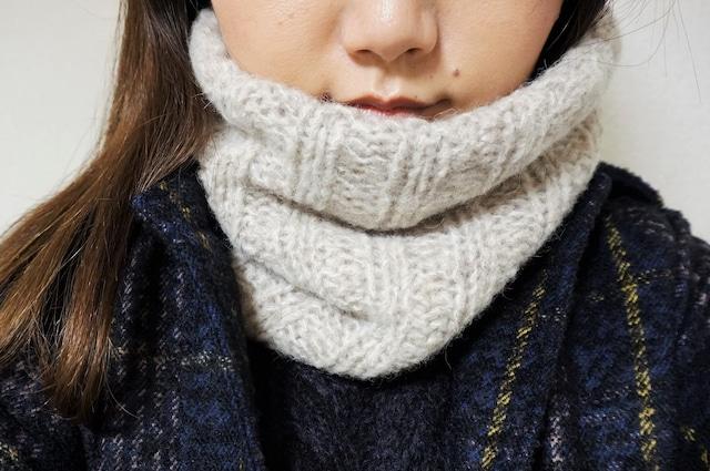 初心者向け 空気を編むアルパカスヌードⅡの編み物キット(棒針編み)