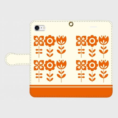 昭和デザイン花(橙)/ iPhoneスマホケース(手帳型ケース)