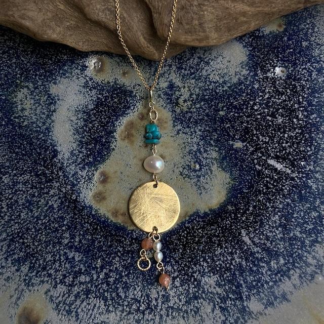 3種の天然石とスクラッチディスクの3-wayアクセサリー(ネックレス,ピアス/イヤリング,チャーム)