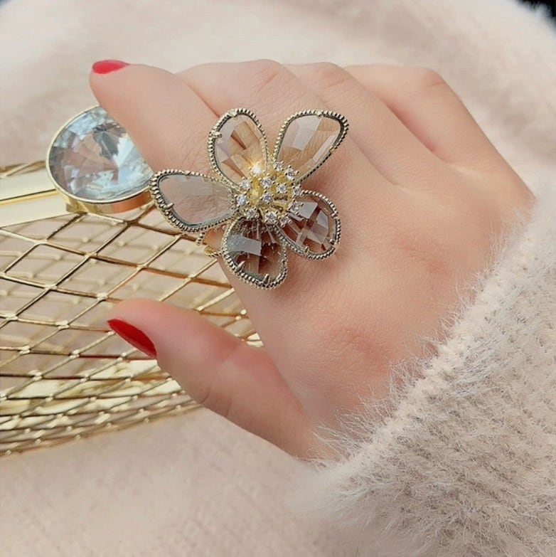 crystal flower ring 2color
