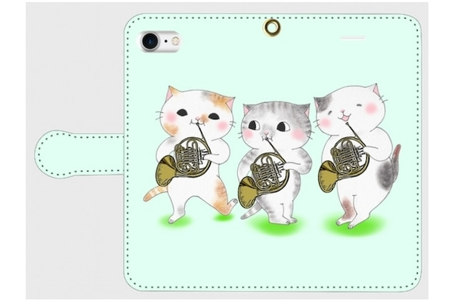 (iPhone用)ホルン3匹猫の手帳型スマホケース
