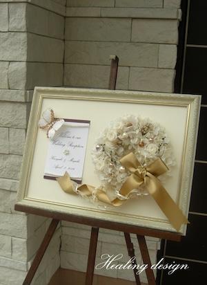 ウェディング ウェルカムボード 大(ホワイトリース&バタフライ)結婚式  / 受注製作