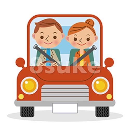 イラスト素材:マイカーでドライブを楽しむ夫婦・カップル(ベクター・JPG)