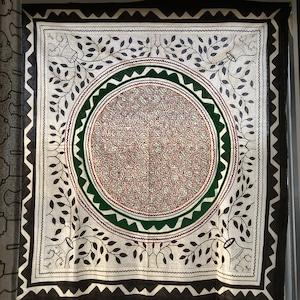 大判刺繍白-02 円キミドリ アマゾン・シピボ族の泥染め アヤワスカ