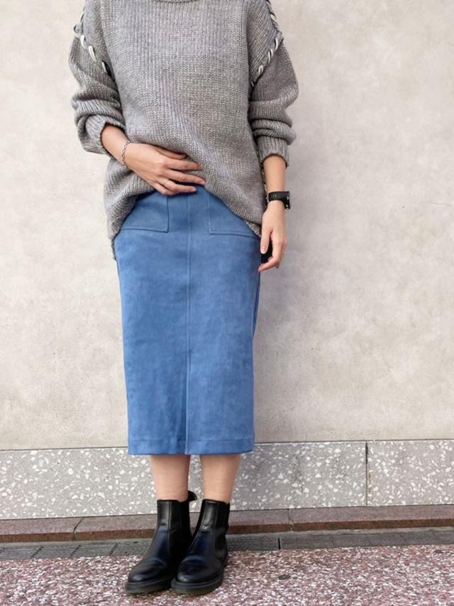フェイクスエードタイトスカート[Color:ブルー]