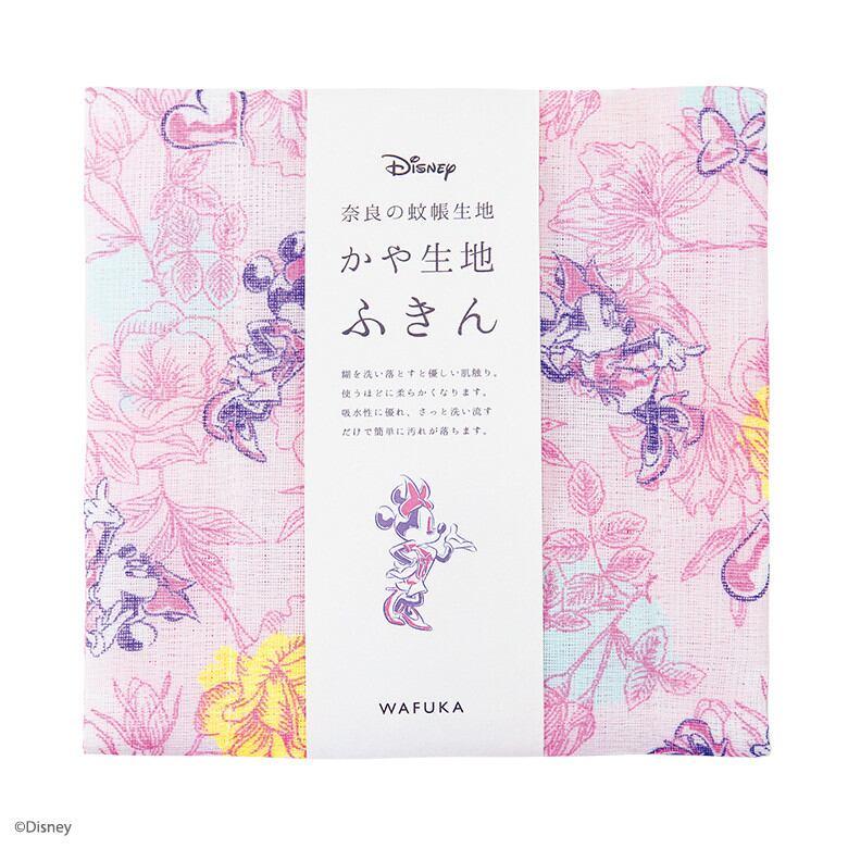 【日本製】Disney ディズニー かや生地 ふきん 『 ミニー フラワー』 奈良の 蚊帳生地 使用