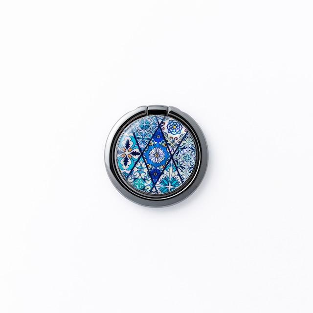 天然貝シェル★ブルーモロッコタイル(スマホリング・バンカーリング)|螺鈿アート|360度回転